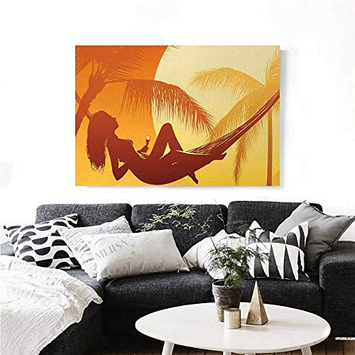 Holiday Canvas Wall Art Silhouette of Sexy Woman Lying in a Hammock at Majestic Sunset View Dream Print Print Paintings for Home Wall Office Decor 24