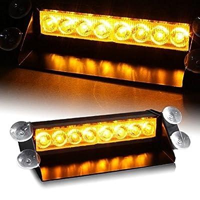 DIYAH 8 LED Warning Caution Car Van Truck Emergency Strobe Light Lamp For Interior Roof Dash Windshield (Amber): Automotive