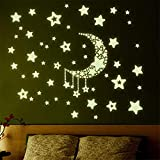 WXNUH Rurah Luminous 3D Art Removable Star Wall Stickers Glow in The Dark Moon Stars Wall Stickers Night Fluorescent Paste Ceiling Star Stickers Perfect for Kids Bedding Room Gift Bedroom Decor