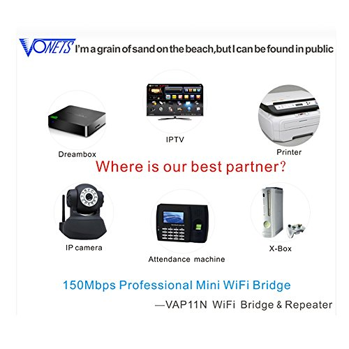 VONETS VAP11N-300 Wireless Mini Wifi Bridge/repeater the Best Partner of IP Device/IP Camera/IP Printer/xbox/ps3/Dreambox Professional Wifi Bridge by Vonets (Image #3)
