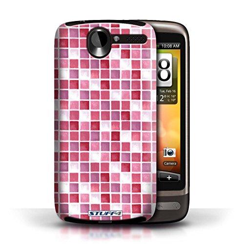 Etui / Coque pour HTC Desire G7 / Rouge/Rose conception / Collection de Carreau Bain