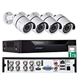 Security Camera System, LONNKY 8CH 1TB HDD Full 1080P 5-in-1 DVR Surveillance System, 4Pcs HD TVI Waterproof Outdoor/Indoor Security Bullet Cameras, 80ft Night Vision,Suppport Intelligent Face Detection