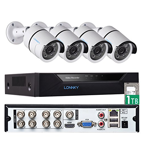 Security Camera System, LONNKY 8CH Full HD 1080P DVR Recorder Surveillance System 1TB HDD, 4Pcs Waterproof Outdoor Indoor Bullet Cameras, 80ft Night Vision,Suppport Intelligent Face Detection