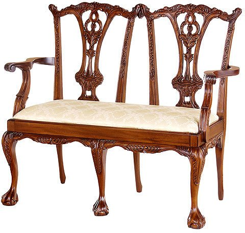 (Laurel Crown Chippendale Two-Seater Settee with Ball and Claw)