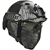 Jadedragon PJ Tactical Fast Helmet & Protect Ear Foldable Double Straps Half Face Mesh Mask &