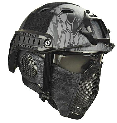 Jadedragon PJ Tactical Fast Helmet & Protect ear Foldable Double straps Half Face Mesh Mask & Goggle (black python lines) -
