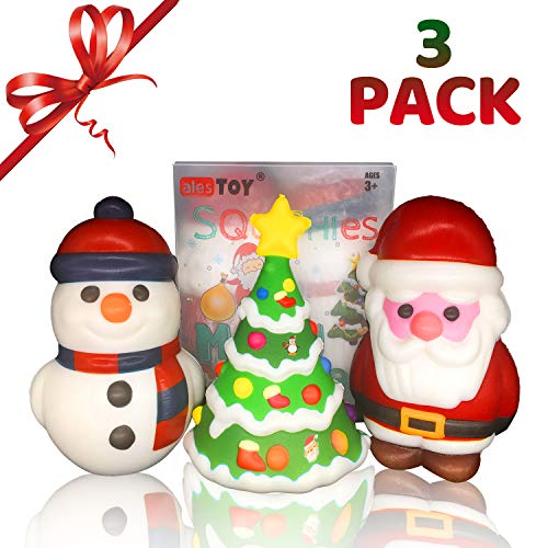 alesTOY Christmas Squishy Pack, Slow Rising Jumbo Santa & Friends Squishies - Kawaii Soft Squishies in A Gift Worthy Box (3-Pack)