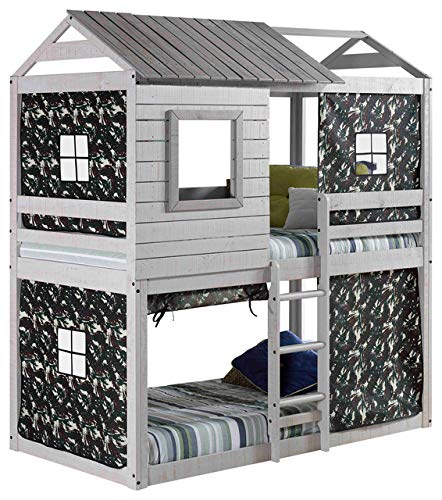 (Hulaloveshop Unique Kid's Bunk Bed Camo Camouflage Pattern Farmhouse Loft Style)