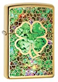 Zippo Lighter: Fusion Four Leaf Clover - High Polish Brass 78459