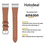 Hotodeal Band Compatible for Fitbit Charge 2 Replacement Bands, Classic Genuine Leather Wristband Metal Connectors, Fitness Strap Women Men Small Large