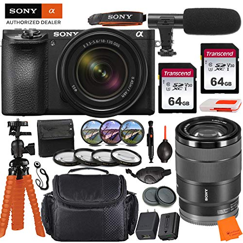 Sony Alpha a6500 Mirrorless Digital Camera with 18-135mm Lens & Pro Accessory Bundle incl. 2X 64GB Transcend Memory Card, Gadget Bag, UV-CPL-FLD Filters and Macro Kits and More