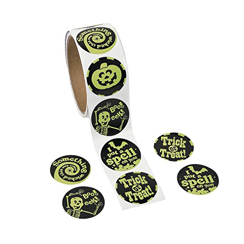 Fun Express - Glow in The Dark Roll Stickers for Halloween - Stationery - Stickers - Stickers - Roll - Halloween - 100 Pieces