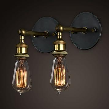 Vintage luces de pared cabeza de cobre, ajustable lámpara de ...