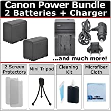 Complete Starter Kit by eCost + 2 BP-970G Batteries + AC/DC Turbo Charger with Travel Adapter For Canon XF100 XF105 XF300 XF305 GL1 GL2 XH-A1 XH-A1S XH-G1 XH-G1S XL-H1 XL H1A XL-H1S XL1 XL1S XL2 Camcorder