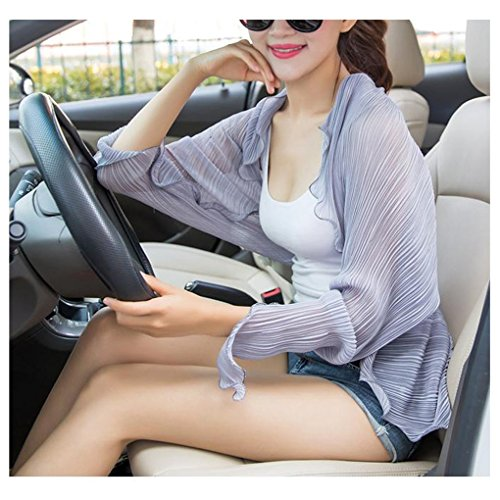 Price comparison product image Womens Summer Cool Thin Pleated Flounce Chiffon Quick Dry Long Sleeve Driving Holiday Travel Beach Sun Coat Shirt Anti-UV Sun Protection Skin Care Cover Sunscreen Casual Jacket Outerwear
