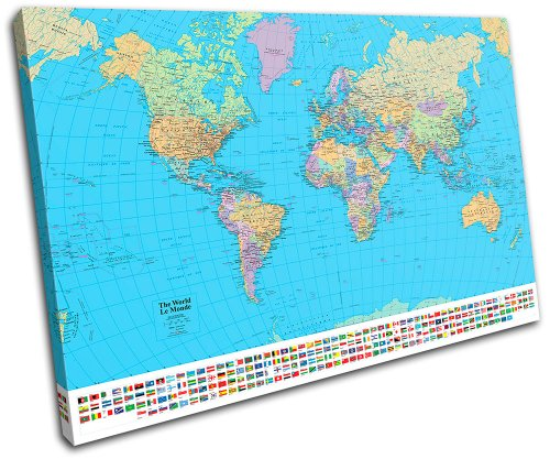 Bold Bloc Design – School World Atlas Maps Flags 135x90cm SINGLE Canvas Art Print Box Framed Picture Wall Hanging – Hand Made In The UK – Framed And R…