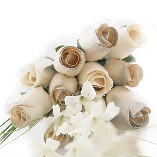 25 Year Anniversary Silver and White Flower Bouquet The Original Wooden Rose Closed bud (1 Dozen)