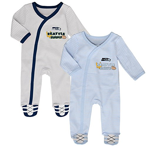 Nhl Newborn Seattle Seahawks  Sunday Best  2 Piece Coverall Set  Cool Grey  Blue Grey 6 Months