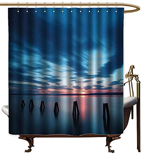 Shower Curtains for Bathroom Pictures Ocean,Calm Seascape at Sunset in Vietnam Motion Effected Clouds Twilight Scenery,Dark Blue Blue Coral,W69 x L90,Shower Curtain for Shower stall