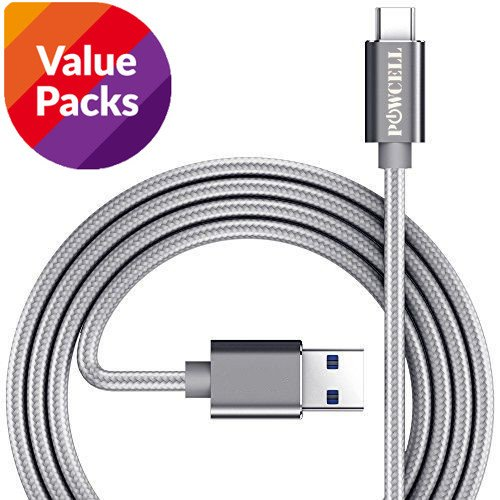 3 Pack EXTRA LONG 2 Meters Fast Charger Cable for Google Pixel / Pixel 2/ Pixel XL/ Pixel 2 XL/ BlackBerry Keyone/ Motion LG V20/ V30+ Samsung Galaxy S9 S8 Plus Note 8 OnePlus 3 3T 5 5T Nylon Braided USB Type-C Charge & Sync Cord (Gray, 2 Meter x 3)