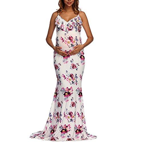 BOOMJIU Women's Off Shoulder Sleeveless Ruffles Lace Maternity Gown Maxi Photography Dress White by Women Dress (Image #2)