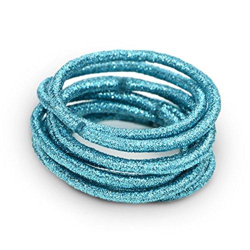 La Tartelette 5 cm Shimmer Elastic Bands Hair Ties Children Rubber Hair Headbands - 10 Pcs (Aquamarine)