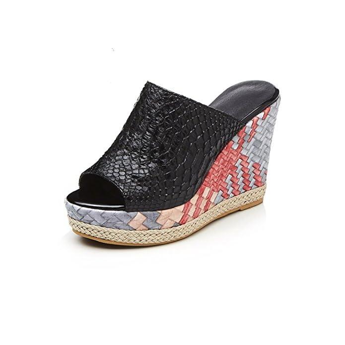 Sandali Da Donna Pantofole Novità 2018 Estate Tacchi Alti Retrò Open Toe Moda Slope Tacco Ladies Fashion Casual Daily Traspiranti Scarpe colore Nero Dimensione 34