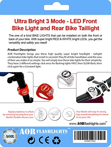 AOR POWER AR130 LED Bike Headlight and Taillight Set. 3 Modes High Beam, Fast, Slow Flashing. High Visibility, Easy Install, Water Proof, Batteries Included (Red, White)