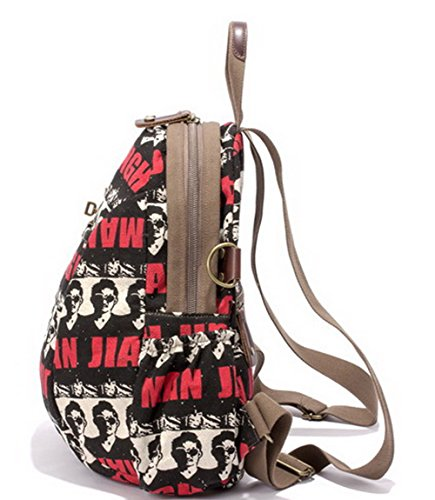 Lucido Escursionismo Tessuto Daypacks Nero Shopping VogueZone009 Zaini Donna Daypack wqvFF6z