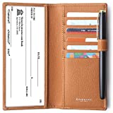 Genuine Leather Checkbook Cover For Men & Women - Checkbook Covers with Card Holder Wallet RFID Blocking Brown