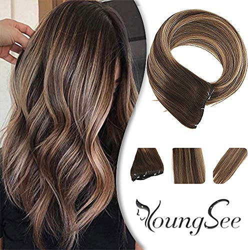 Youngsee 16inch Remy Hair Extensions Clip in Human Hair Balayage Ombre Color Dark Brown Highlight Honey Blonde Thick Straight Clip in Hair Extensions 7Pcs/120G/Set