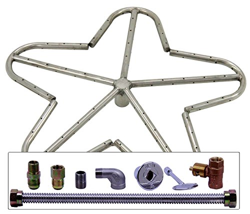 Spotix HPC Match Lit Fire Pit Burner Kit, Penta, 18-Inch Burner, Natural Gas, Polished Chrome by Spotix