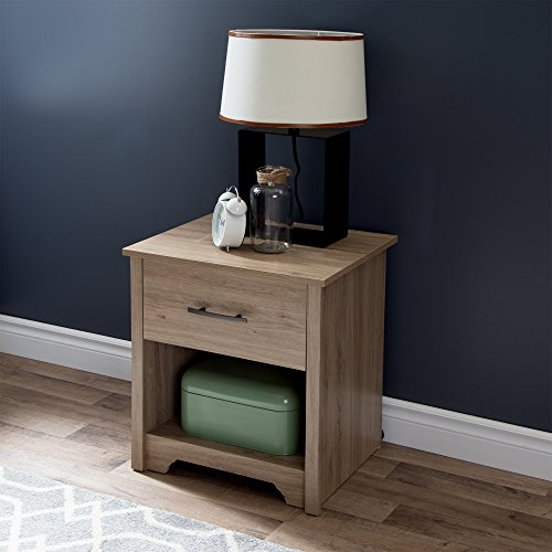 (South Shore Fusion Nightstand, Rustic Oak with Grooved Metal Handles)