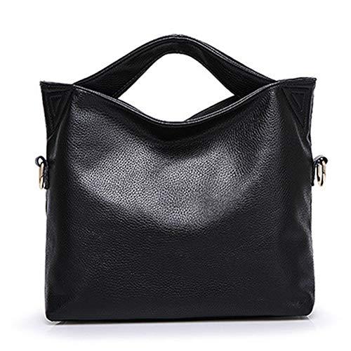 Borse donna classica donna da pelle in borsa nero nero da capacità casual grande TqT4rR