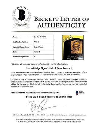 Satchel Paige Signed Autographed HOF Plaque Card Beckett BAS