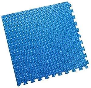ZTMTOYS Interlock EVA Foam Floor Mat 100cmx100cmx1.5cm Blue Color Plain Exercise Puzzle Mat for kids Activity.