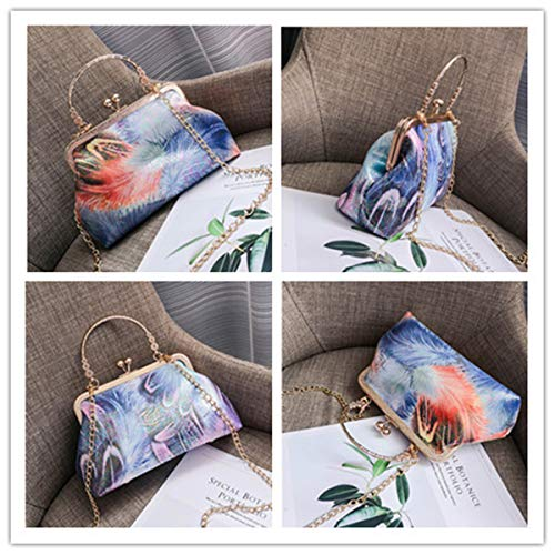 Wedding Feather Evening Handbags BeautyWJY Clutch Printing Purse Purple Vintage Women's OIR0qEW74