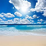 Leowefowa Vinyl 5X5FT Seaside Tropical Backdrop Sand Beach Blue Sky White Cloud Ocean Photography Background Kids Adults Summer Holiday Journey Lover Wedding Photo Studio Props