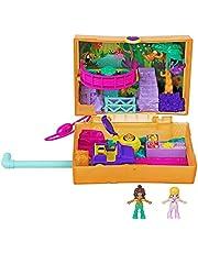 Polly Pocket GKJ53 – Polly Pocket saftskoj safari-låda, 2 små dockor och tillbehör
