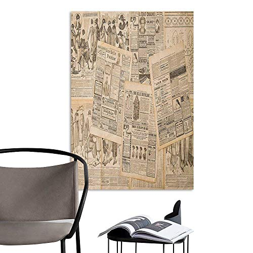Brandosn Art Decor 3D Wall Mural Wallpaper Stickers Antique Newspaper Pages with Advertising and Fashion Magazine Woman Edwardian Publicity Image Cream Office Fashion W16 x H20