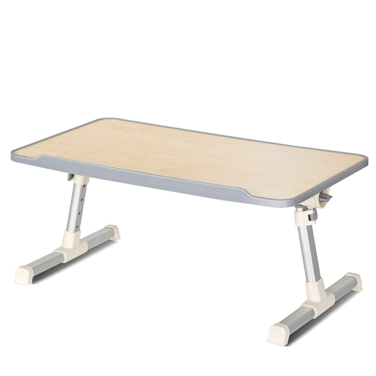 Tangkula Bed Table Adjustable Laptop Table, Portable Standing Bed Desk with Foldable Legs, Notebook Stand Reading Holder for Couch & Floor Sofa Breakfast Tray, Computer Riser, Outdoor Camping Table
