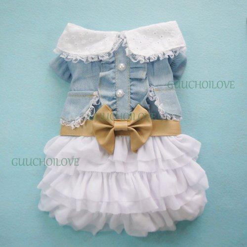 Petparty Fairy Denim Dog Dress for Dog Clothes Charming Cozy Dog Shirt Pet Dress, XL