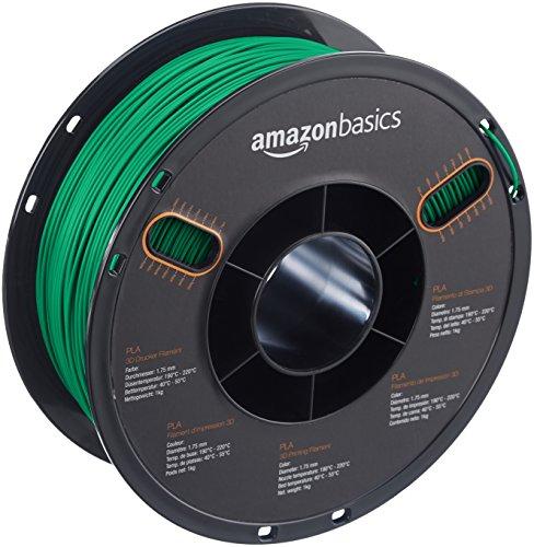 AmazonBasics PLA 3D Printer Filament, 1.75mm, Green, 1 kg Spool