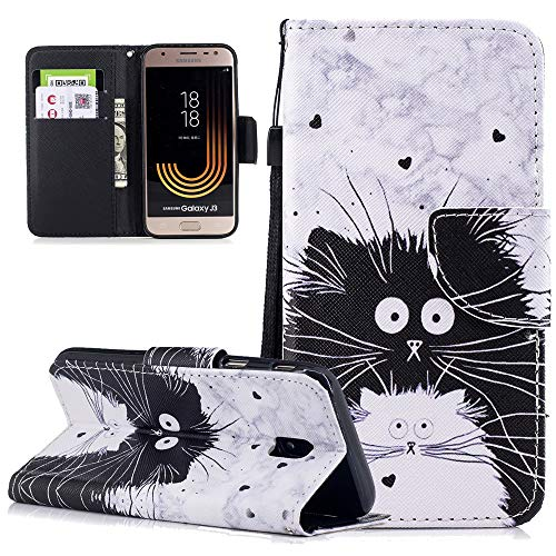 LEECOCO Case for Samsung J3 Pro Wallet Case with Card Cash Slots Wrist Strap [Kickstand] PU Leather Folio Flip Protective Slim Case Cover for Samsung Galaxy J3 2017 J330 (EU Version) Totoro HX (Totoro Phone Strap)