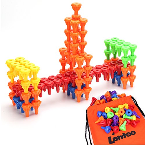 Peg Board Game, Lantoo Montessori Occupational Therapy Fine Motor Toy for Toddlers and Preschoolers, 96 Stacking Pegs for Color Recognition Sorting & Counting(No Board Needed)