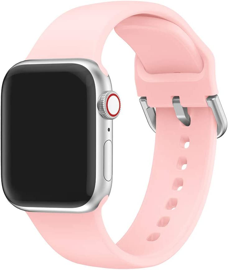 EOOZON Silicone Strap Compatible with Apple Watch Band 38/40mm 42/44mm Soft Silicone Sport Band Replacement Wrist Strap Compatible with iWatch Series 4/3/2/1 (Pink, 38mm/40mm)