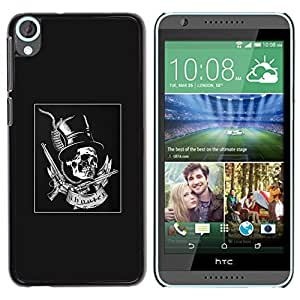 Be Good Phone Accessory // Dura Cáscara cubierta Protectora Caso Carcasa Funda de Protección para HTC Desire 820 // Grey Top Hat Guns Rock Roll Metal