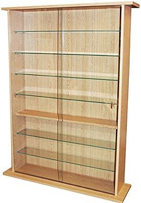 Resistente 8 estante Rack de almacenamiento multimedia – almacena hasta 600 CD o DVD 255 o 140 Vídeos – Cristal Puerta Corredera y estantes de cristal: Amazon.es: Hogar