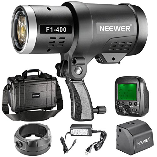 Neewer 400W 2.4G HSS Dual TTL(i-TTL and e-TTL) Outdoor Flash Strobe Light for Canon and Nikon, with 2.4G Wireless Trigger and Rechargeable Li-ion Battery (350 Full Power Flashes) Bowens Mount F1-400 by Neewer