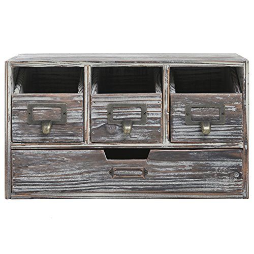 Rustic Brown Torched Wood Finish Desktop Office Organizer Drawers / Craft Supplies Storage Cabinet by MyGift (Image #1)